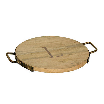 Wood and Iron Monogram L Cheese Tray