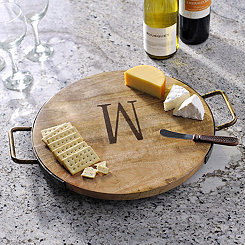 Wood and Iron Monogram W Cheese Tray