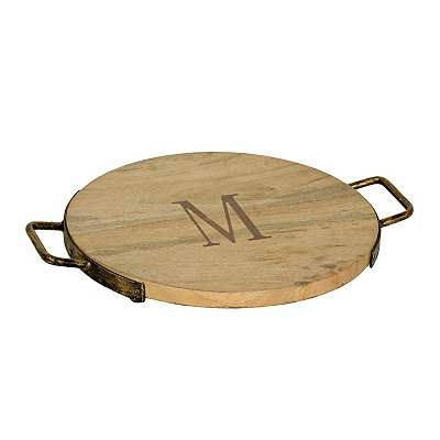 Wood and Iron Monogram M Cheese Tray