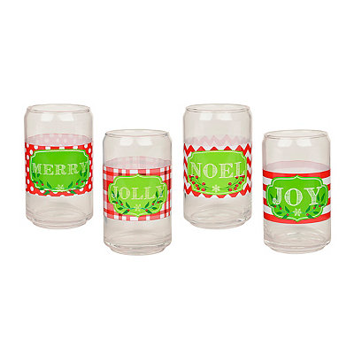 Christmas Can Glasses, Set of 4