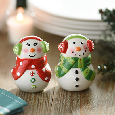 Mr. and Mrs. Snowman Salt and Pepper Shaker Set