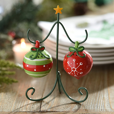 Ornaments and Tree Salt and Pepper Shaker Set