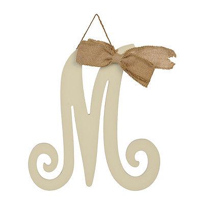 Small Antique Cream Monogram M Plaque