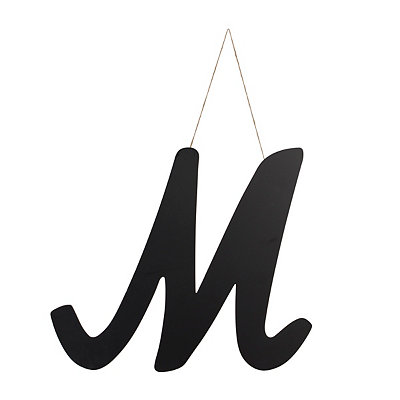 Black Manila Monogram M Wooden Plaque