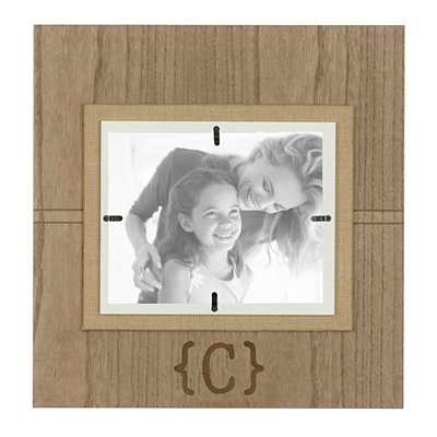 Natural Wood Monogram C Picture Frame, 8x10