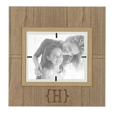 Natural Wood Monogram H Picture Frame, 8x10
