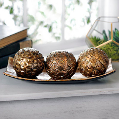 Metallic Ceramic Orbs and Tray, Set of 4