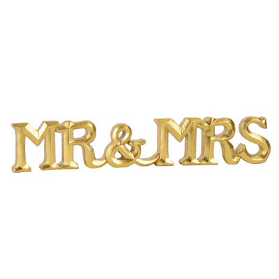 Gold Mr. and Mrs. Table Runner