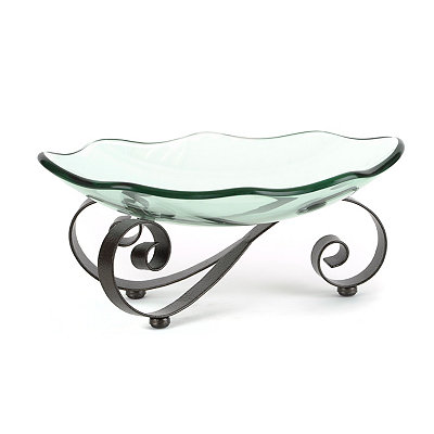 Scalloped Glass Bowl with Scrolled Stand