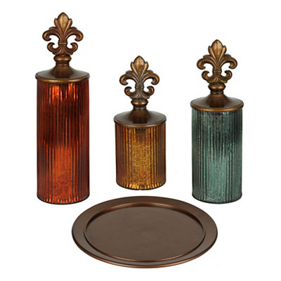 Metallic Fleur-de-Lis Decorative Jars, Set of 3