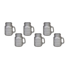 Metallic Silver Mason Jar Shot Glasses, Set of 6