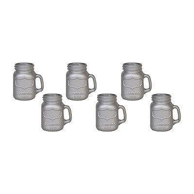 Metallic Silver Mason Jar Shot Glasses, Set of 6