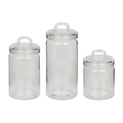 Clear Glass Canisters with Lids, Set of 3
