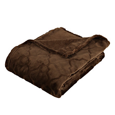 Embossed Chocolate Luxury Plush Throw Blanket