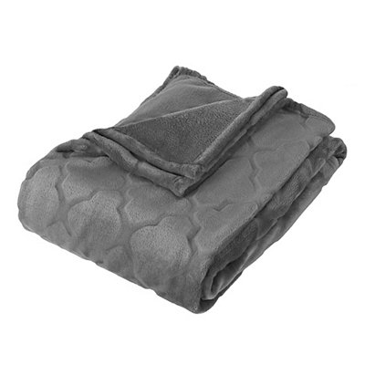Embossed Gray Luxury Plush Throw Blanket