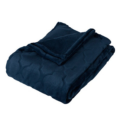 Embossed Navy Luxury Plush Throw Blanket