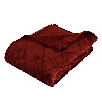 Embossed Red Luxury Plush Throw Blanket