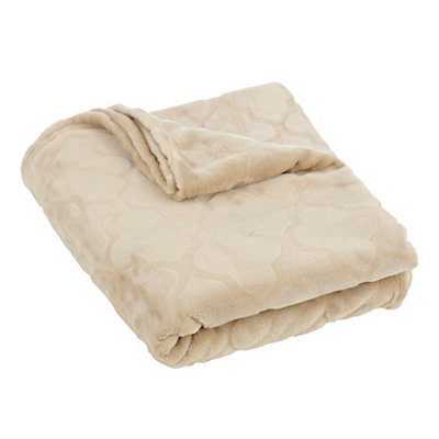 Embossed Tan Luxury Plush Throw Blanket