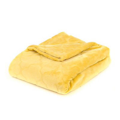 Embossed Yellow Luxury Plush Throw Blanket