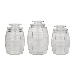 Glass Barrel Kitchen Canisters, Set of 3