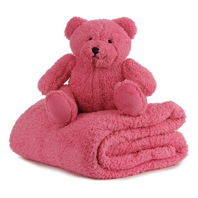 Plush Pink Bear & Blanket Gift Set