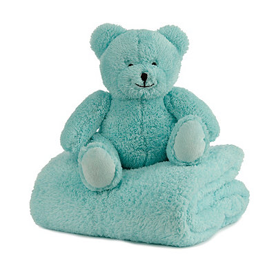 Plush Blue Bear & Blanket Gift Set