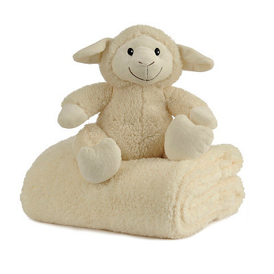 Plush Cream Lamb & Blanket Gift Set