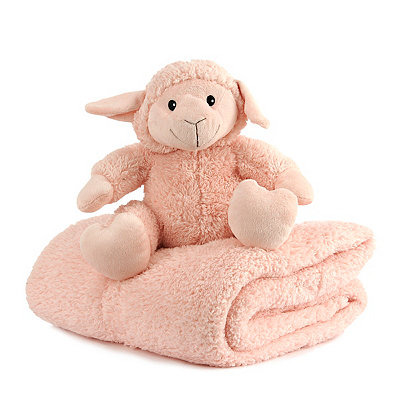 Plush Pink Lamb & Blanket Gift Set