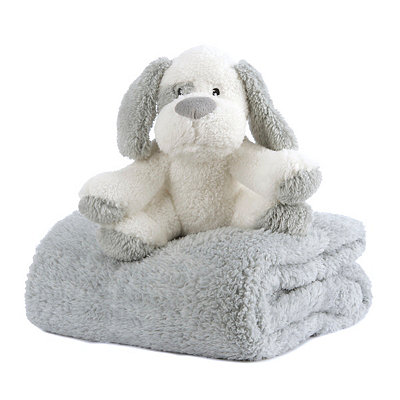 Plush Gray Dog & Blanket Gift Set