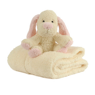 Plush Cream Dog & Blanket Gift Set