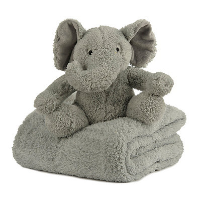 Plush Gray Elephant & Blanket Gift Set