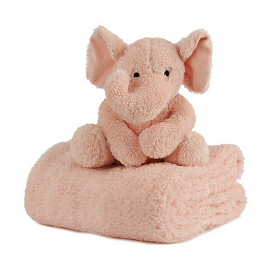 Plush Pink Elephant & Blanket Gift Set