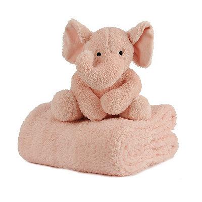 Plush Pink Elephant & Blanket Gift Set