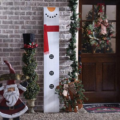 Snowman Wood Plank Plaque