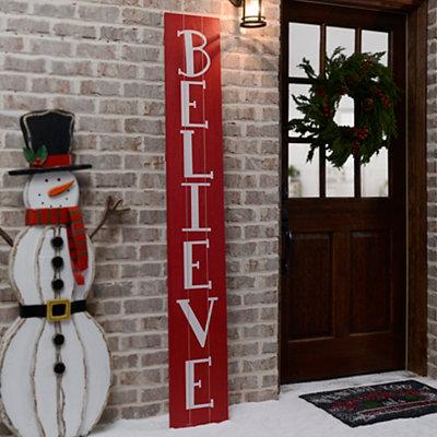 Believe Red Wood Plank Plaque