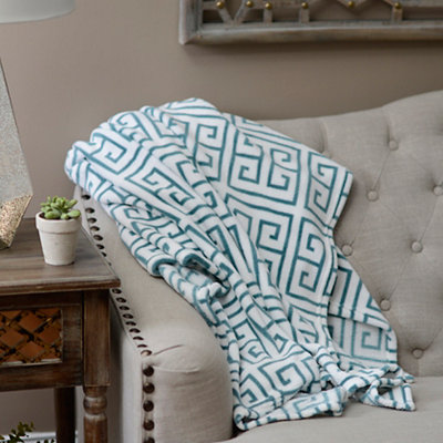 Greek Key Oversized Fleece Throw Blanket