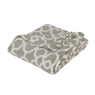 Gray Quatrefoil Oversized Fleece Throw Blanket