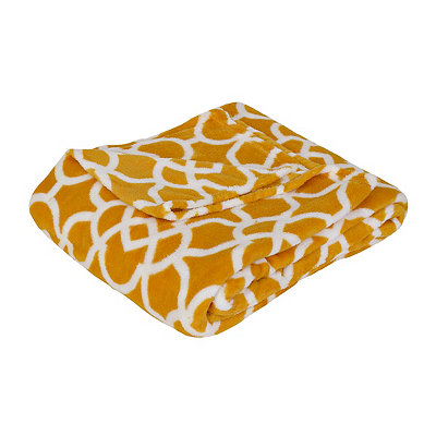 Yellow Geometric Oversized Fleece Throw Blanket