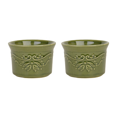 Bargello Green Ramekins, Set of 2