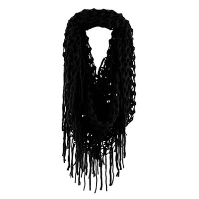Black Open Knit Loop Scarf