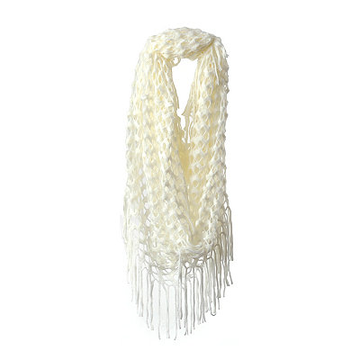Ivory Open Knit Loop Scarf