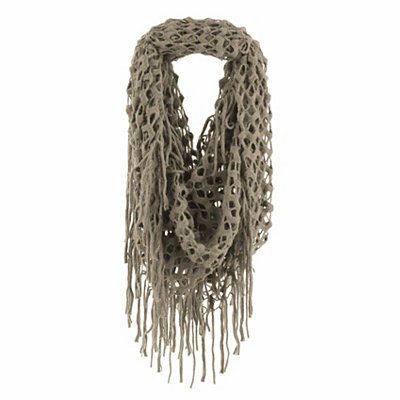 Taupe Open Knit Loop Scarf