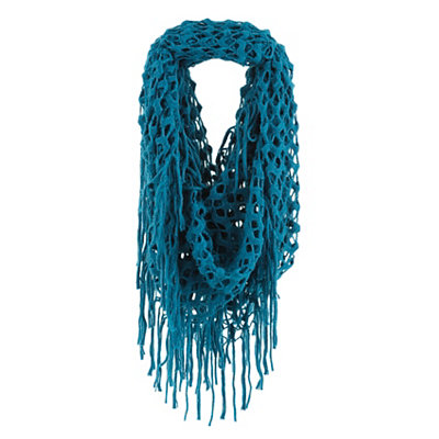 Teal Open Knit Loop Scarf