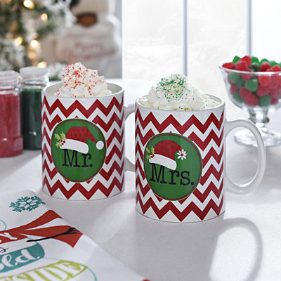 Mr. and Mrs. Holiday Mugs, Set of 2
