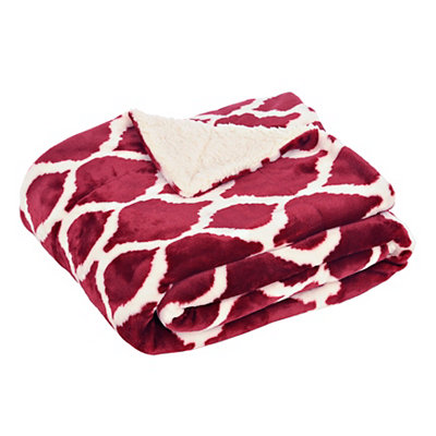 Red Geometric Sherpa Blanket