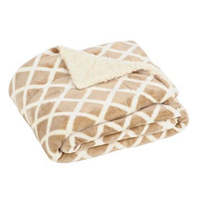 Taupe Geometric Sherpa Blanket