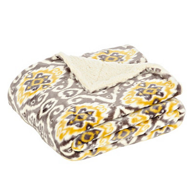 Yellow Ikat Sherpa Blanket