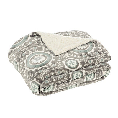 Blue Stone Medallion Sherpa Blanket