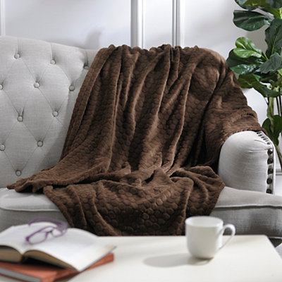 Pebble Dot Chocolate Plush Throw Blanket