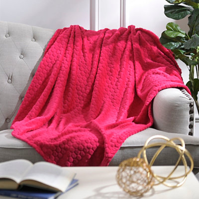 Pebble Dot Pink Plush Throw Blanket